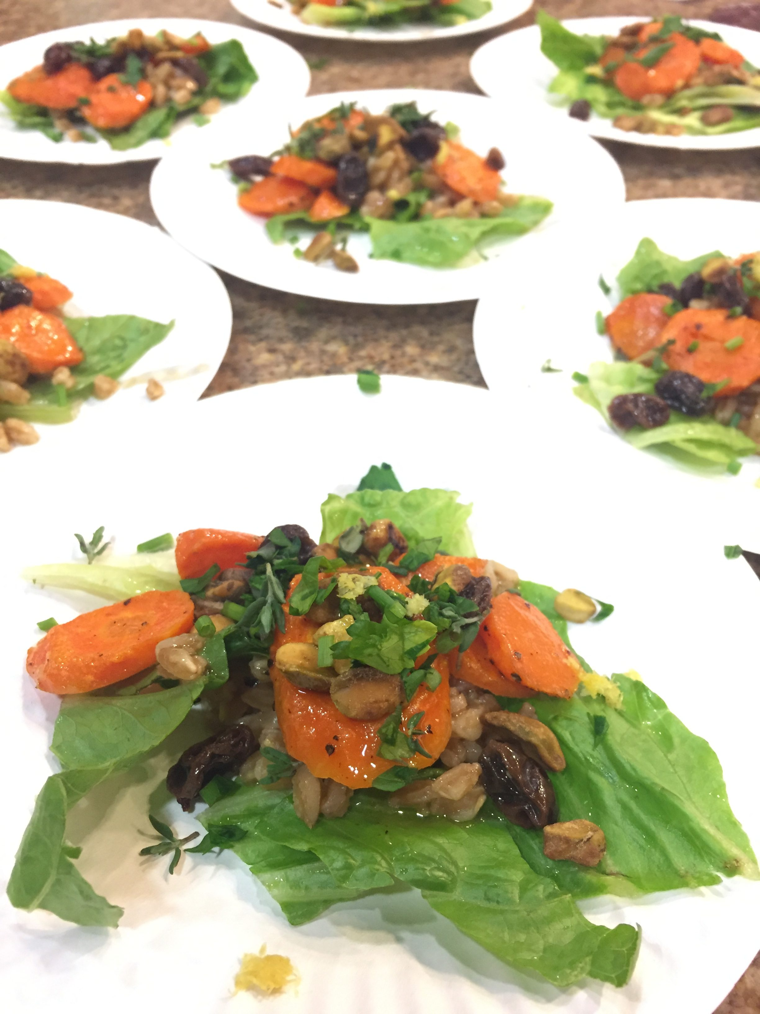 Vegan sensational salad with farro, carrots and pistachios