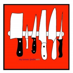 Cooking classes in San Diego North County : Fall Program 2017 is on the website ILLUSTRATION knives by EDIE EATS FOOD BLOG by Edith Dourleijn